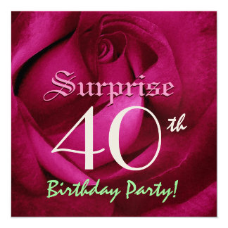 SURPRISE 40th Birthday Red Rose E004 Card