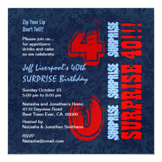 SURPRISE 40th Birthday Red White Blue W604 Personalized Invitation