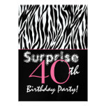 SURPRISE 40th Birthday Zebra Stripes Black White Personalized Announcement