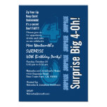 SURPRISE 40th Modern Birthday Blue and White Announcements
