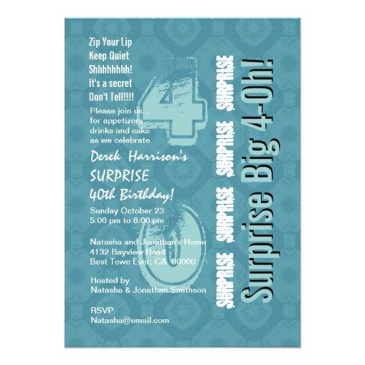 SURPRISE 40th Modern Birthday Blue and White V15 Custom Announcement