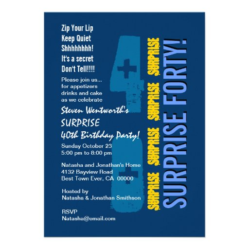SURPRISE 40th Modern Birthday Blue Gold Template Invitations