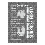 SURPRISE 40th Modern Birthday Gray and White G303 5x7 Paper Invitation Card