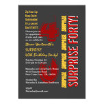 SURPRISE 40th Modern Birthday Red Gold Gray Personalized Invites