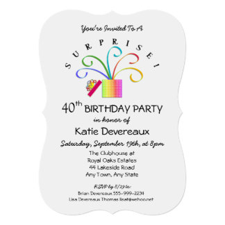 SURPRISE! 40th or Any Age Birthday Party Card