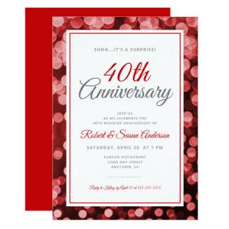 Surprise 40th Wedding Anniversary   Red Bokeh Invitation