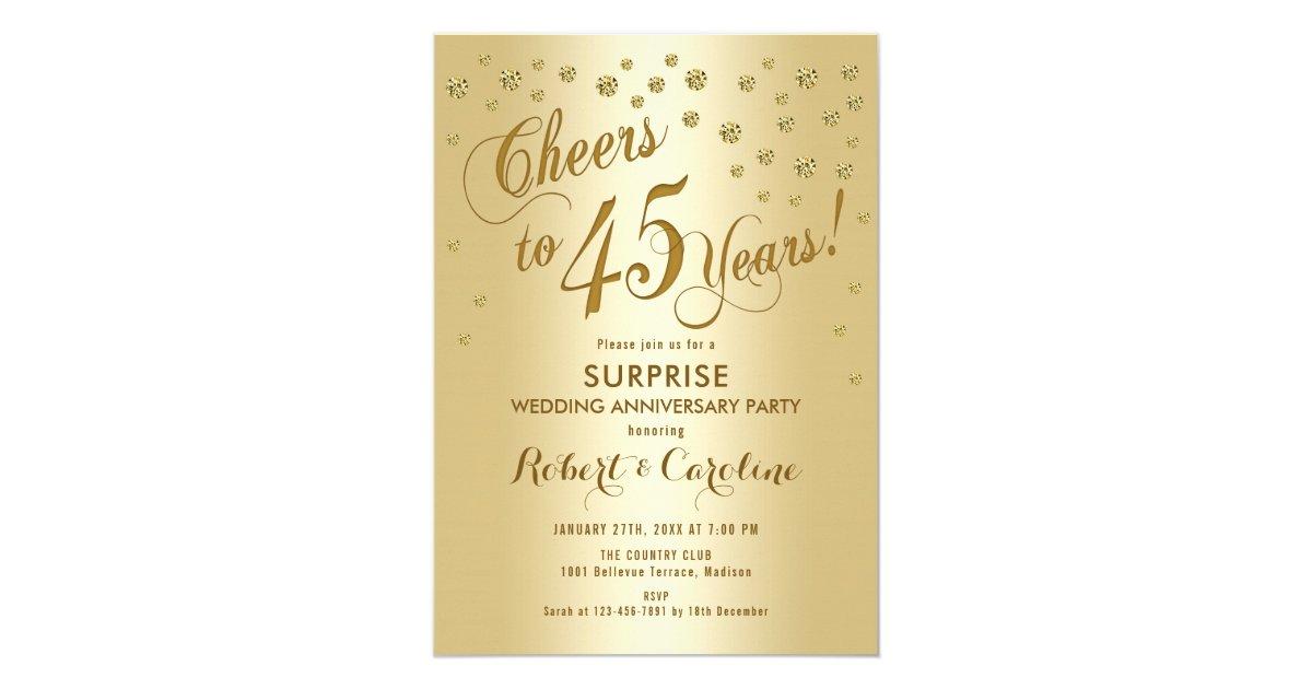 Surprise 45th Wedding Anniversary Gold Invitation Zazzle Com