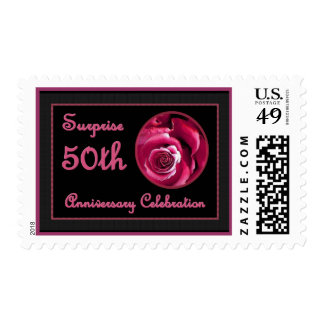 SURPRISE 50th Anniversary Invitation Rose Stamp