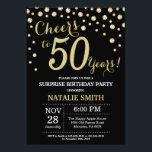 "Surprise 50th Birthday Black and Gold Diamond Invitation<br><div class=""desc"">Surprise 50th Birthday Invitation with Black and Gold Glitter Diamond Background. Gold Confetti. Adult Birthday. Male Men or Women Birthday. For further customization,  please click the ""Customize it"" button and use our design tool to modify this template.</div>"