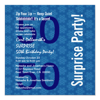 SURPRISE 50th Birthday Blue Star Pattern 003 Card