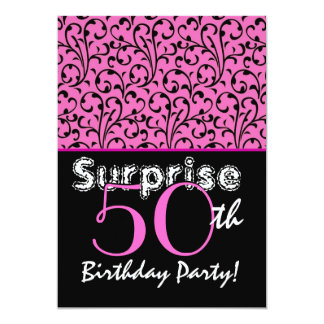 SURPRISE 50th Birthday Bright Pink Black Swirls Announcement