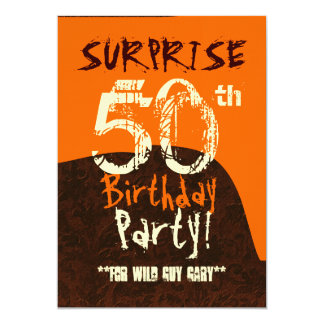 SURPRISE 50th Birthday Brown Ivory Orange C732 5x7 Paper Invitation Card