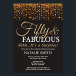 "Surprise 50th Birthday Fifty and Fabulous Gold Invitation<br><div class=""desc"">Surprise 50th Birthday invitation. Fifty and Fabulous. Black and Gold. Gold Glitter. Adult Birthday Party. For Men or Women. For further customization,  please click the ""Customize it"" button and use our design tool to modify this template.</div>"