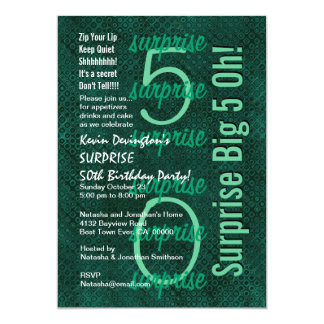 SURPRISE 50th Birthday Forest Green F215 Card