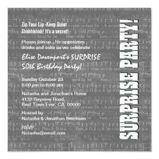 SURPRISE 50th Birthday Gray White Music Note W1679 5.25x5.25 Square Paper Invitation Card
