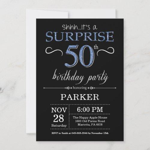 Surprise 50th Birthday Invitation Black and Blue