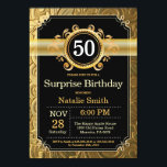 """Surprise 50th Birthday Invitation Black and Gold<br><div class=""""desc"""">Surprise 50th Birthday Invitation with Black and Gold Glitter Background. Adult Birthday. Male Men or Women Birthday. Kids Boy or Girl Lady Teen Teenage Bday Invite. 13th 15th 16th 18th 20th 21st 30th 40th 50th 60th 70th 80th 90th 100th. Any Age. For further customization, please click the """"Customize it"""" button...</div>"""