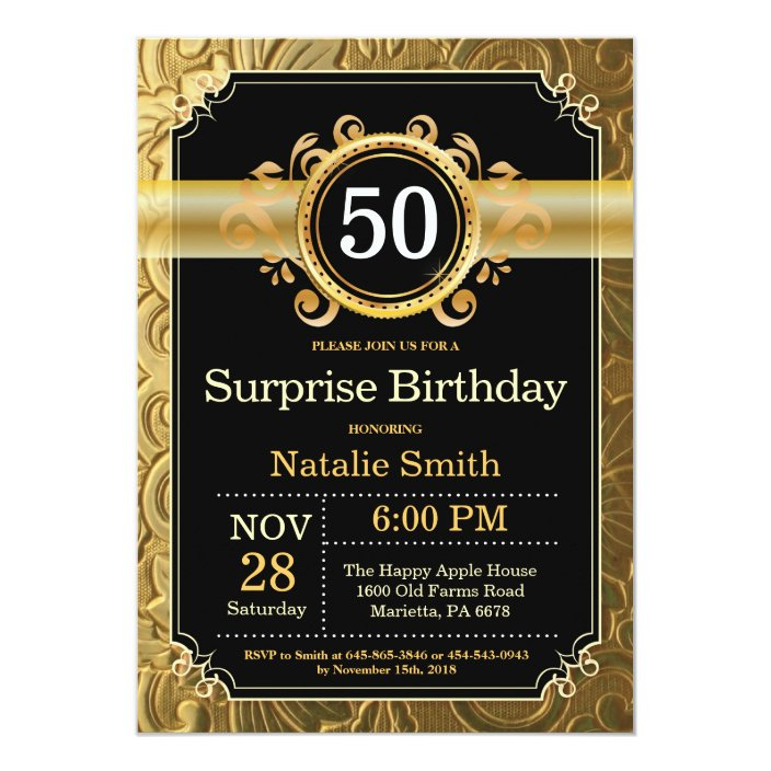Surprise 50th Birthday Invitation Black