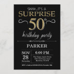 """Surprise 50th Birthday Invitation Black and Gold<br><div class=""""desc"""">Surprise 50th Birthday Invitation with Black and Gold Glitter Background. Chalkboard. Adult Birthday. Men or Women Bday Invite. Any age. For further customization,  please click the """"Customize it"""" button and use our design tool to modify this template.</div>"""