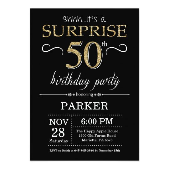 Surprise 50th Birthday Invitation Black And Gold Zazzle Com