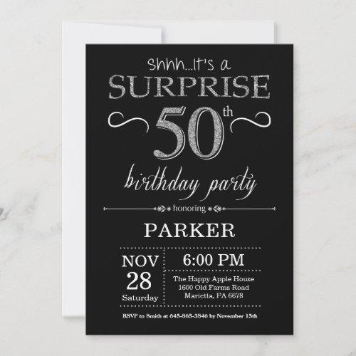 Surprise 50th Birthday Invitation Black and Silver