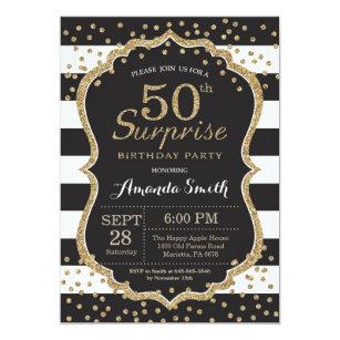 50th birthday invitations zazzle surprise 50th birthday invitation gold glitter invitation filmwisefo