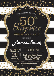 Surprise 50th birthday invitations announcements zazzle surprise 50th birthday invitation gold glitter card filmwisefo Choice Image