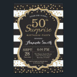 "Surprise 50th Birthday Invitation. Gold Glitter Invitation<br><div class=""desc"">Surprise 50th Birthday Invitation for women or man. Black and Gold Birthday Party Invite. Gold Glitter Confetti. Black and White Stripes. Printable Digital. For further customization,  please click the &quot;Customize it&quot; button and use our design tool to modify this template.</div>"