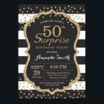 "Surprise 50th Birthday Invitation. Gold Glitter Invitation<br><div class=""desc"">Surprise 50th Birthday Invitation for women or man. Black and Gold Birthday Party Invite. Gold Glitter Confetti. Black and White Stripes. Printable Digital. For further customization,  please click the ""Customize it"" button and use our design tool to modify this template.</div>"