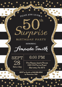 surprise 50th birthday invitation gold glitter invitation