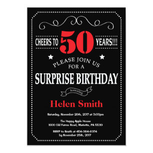 Surprise 50th Birthday Invitation Red And Black
