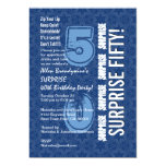 """SURPRISE 50th Birthday Modern Blue and White F646 5"""" X 7"""" Invitation Card"""