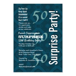 SURPRISE 50th Birthday Modern Blue Pattern G205 Card