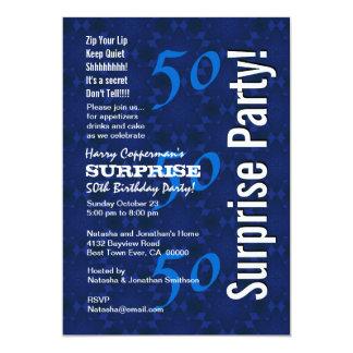 SURPRISE 50th Birthday Modern Blue Pattern G208 Card