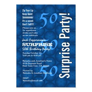 SURPRISE 50th Birthday Modern Blue Pattern G209 Card