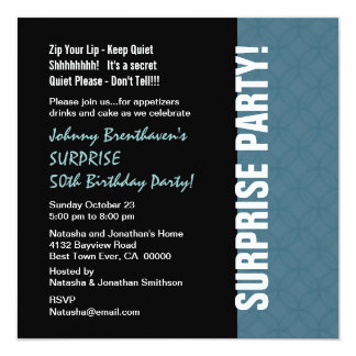 "SURPRISE 50th Birthday Modern Dusty Blue W1452 5.25"" Square Invitation Card"