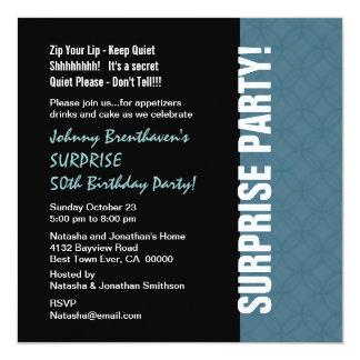 SURPRISE 50th Birthday Modern Dusty Blue W1452 Custom Invites