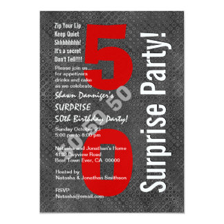 "SURPRISE 50th Birthday Modern Gray Red White D501 5"" X 7"" Invitation Card"