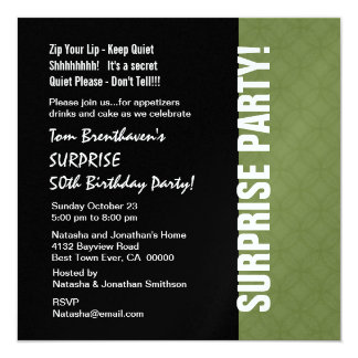 "SURPRISE 50th Birthday Modern Green and Black W204 5.25"" Square Invitation Card"