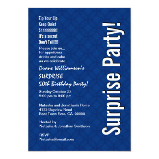 "SURPRISE 50th Birthday Modern Royal Blue Ver 005 5"" X 7"" Invitation Card"