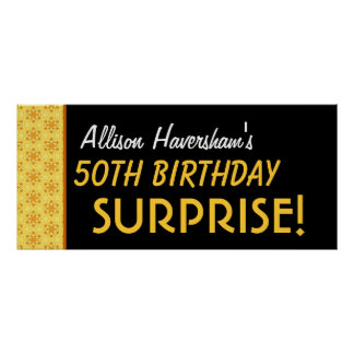 Surprise 50th Birthday or Any Year Gold Pattern Poster
