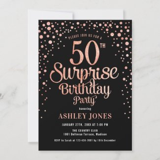 Surprise 50th Birthday Party - Black & Rose Gold Invitation