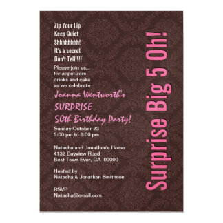 "SURPRISE 50th Birthday Party Chocolate and Pink 5"" X 7"" Invitation Card"