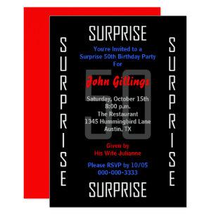 Surprise 50th birthday invitations zazzle surprise 50th birthday party invitation 50 filmwisefo