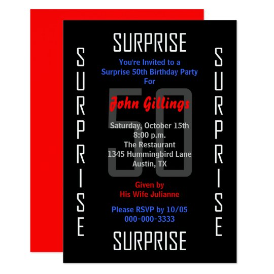 surprise 50th birthday party invitation 50 - Surprise 50th Birthday Party Invitations