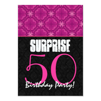 SURPRISE 50th Birthday Party Magenta and Black Card
