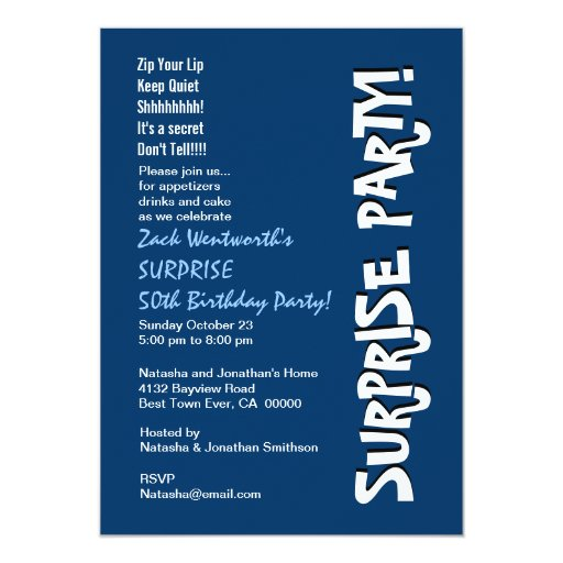 SURPRISE 50th Birthday Party Modern Blue and White 5x7 Paper Invitation Card