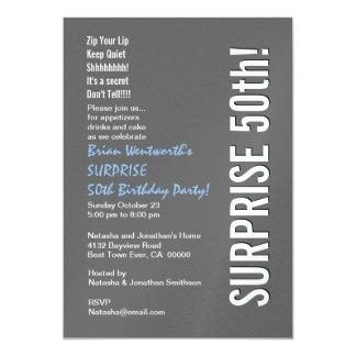 SURPRISE 50th Birthday Party Modern Gray Blue Whit Custom Invites