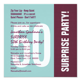 Surprise 50th Birthday Party Modern Pattern Column Card