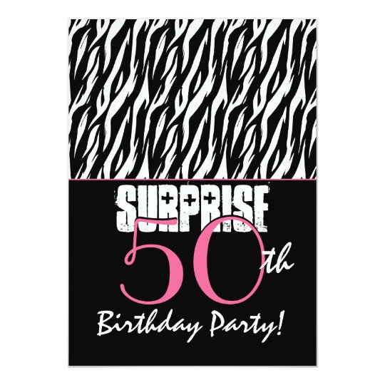 SURPRISE 50th Birthday Party Modern Zebra Card